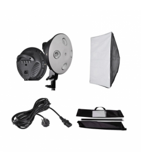 Lampa fluorescenta Sun400 cu 4 socluri E27 si softbox 60 x 90 cm