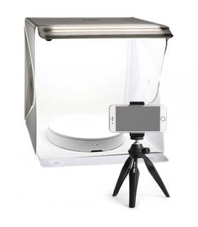 Cub foto pliabil cu led 38x38x38cm Foldio2 Plus cu masa rotativa si trepied