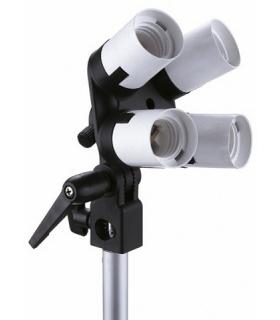 Lampa cvadrupla Linkstar soclu E27 cu suport rabatabil si orificiu pentru umbrela